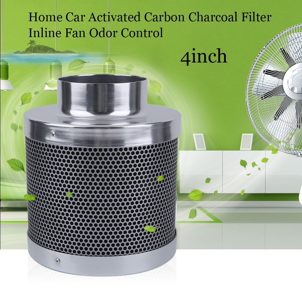 4/6/8 Inch High Flow Home Activated Carbon Charcoal Filter Inline Fan Odor Control Scrubber Grow Light For Universal Vehicle