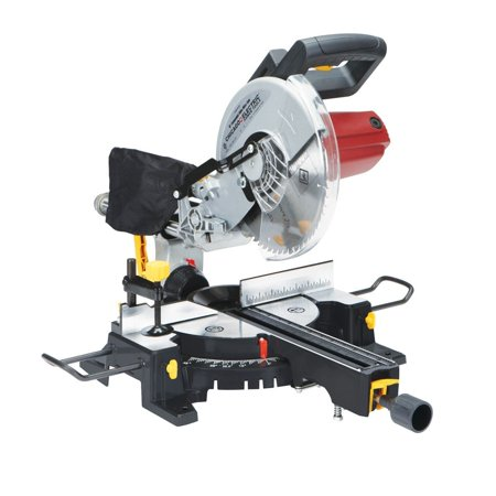 10 Inch Sliding Compound Miter Saw with 45 Degree Bevel and Dust Bag, Extension Bars and Table