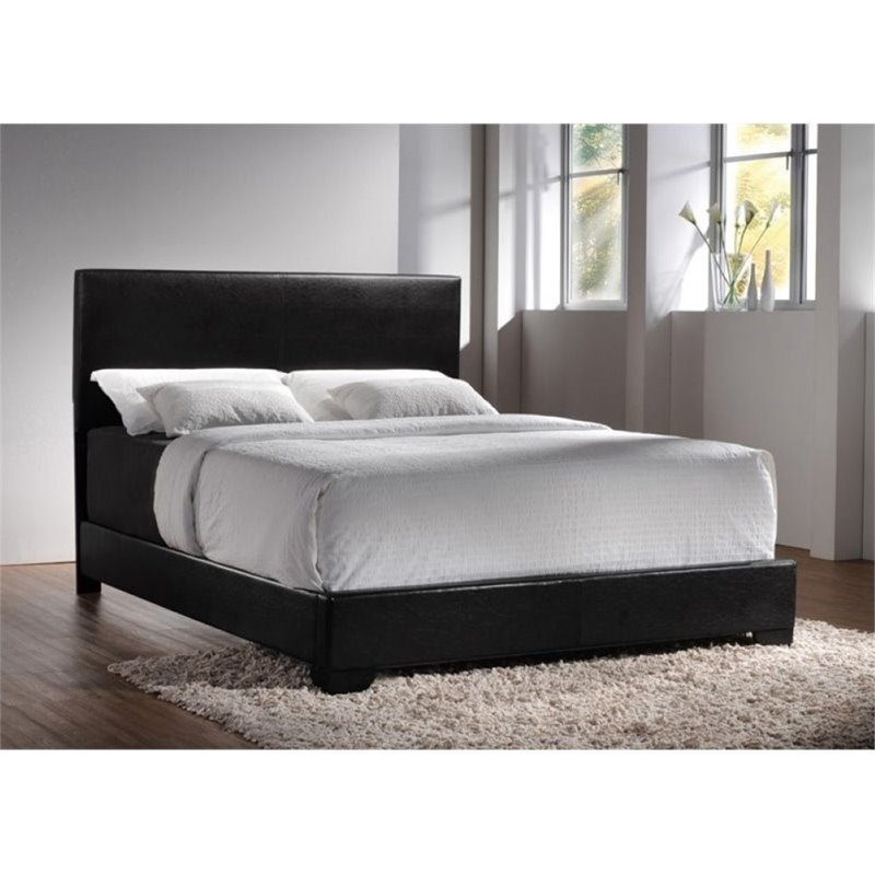 Bowery Hill Upholstered Platform King Bed in Black