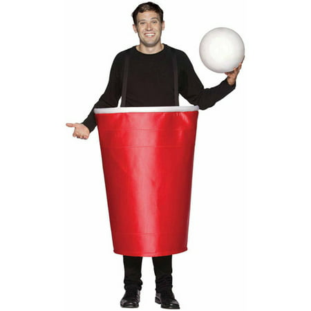 Red Beer Pong Cup Adult Halloween Costume (Red Incredible Hulk Halloween Costume)