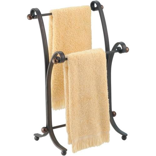 InterDesign York Metal Bath Towel Holder Stand for Bathroom Vanities, Bronze