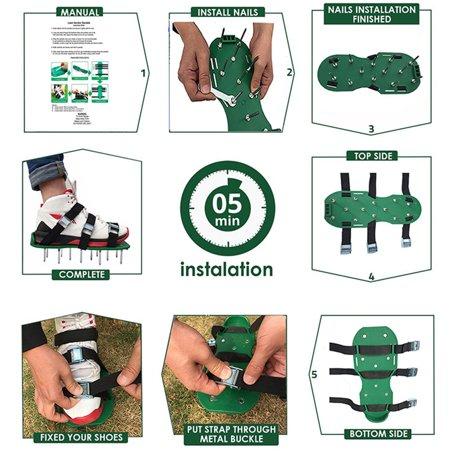 """Lawn Aerator Shoes 2.2"""" Spike Aerating Sandals with Adjustable 4 Metal Buckle Straps 26 Steel Metal Spikes Effective Tool for Aerating Yard Soil Universial Size Green - image 2 of 7"""