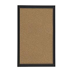 "FORAY™ Cork Board, 12"" x 18"", Tan Cork, Black Décor Frame"