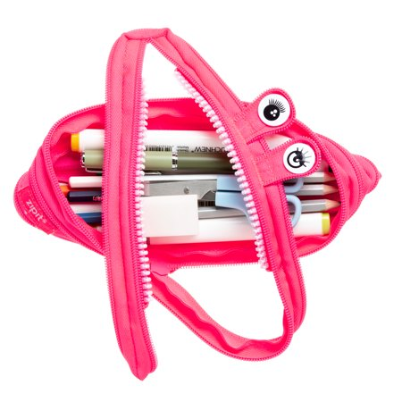 ZIPIT Monster Pencil Case for Girls, Holds up to 30 Pens, Made of One Long Zipper! (Pink)