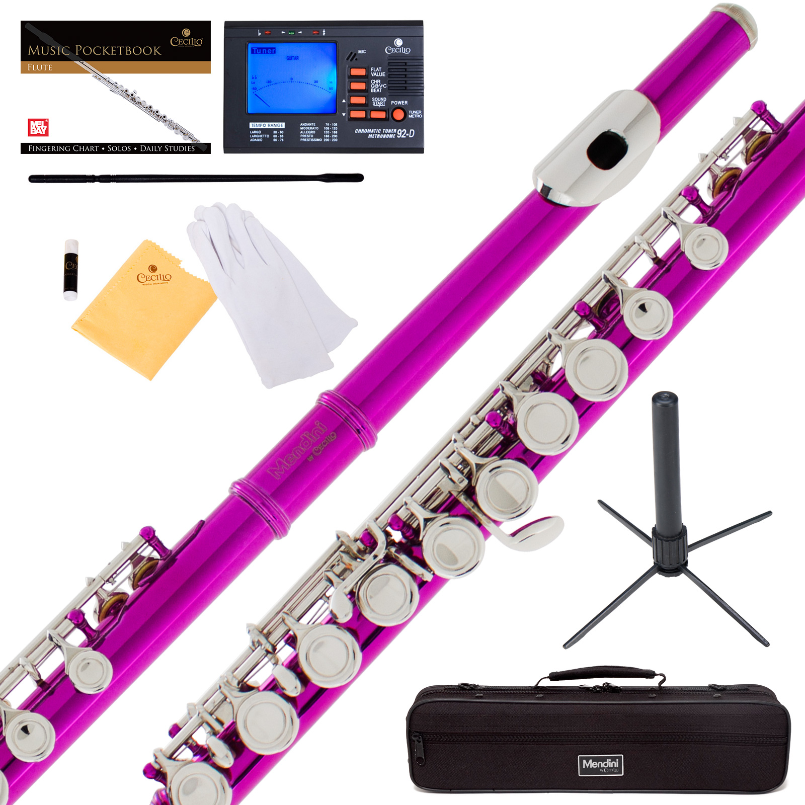 Mendini by Cecilio MFE-FS Fuchsia Pink C Flute with Stand, Tuner, 1 Year Warranty, Case, Cleaning Rod, Cloth, Joint Grease, and Gloves