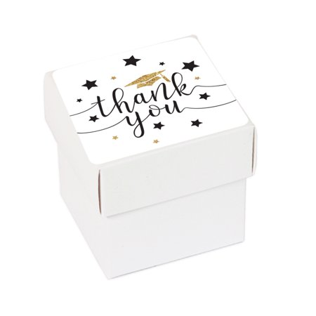 White and Gold Glittering Graduation, Favor Box DIY Party Favors Kit, Graduation Thank You, 20-Pack (Diy Graduation Party Favors)