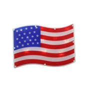 "13.25"" LED Lighted Patriotic 4th of July American Flag Window Silhouette Decoration, Battery Operated"