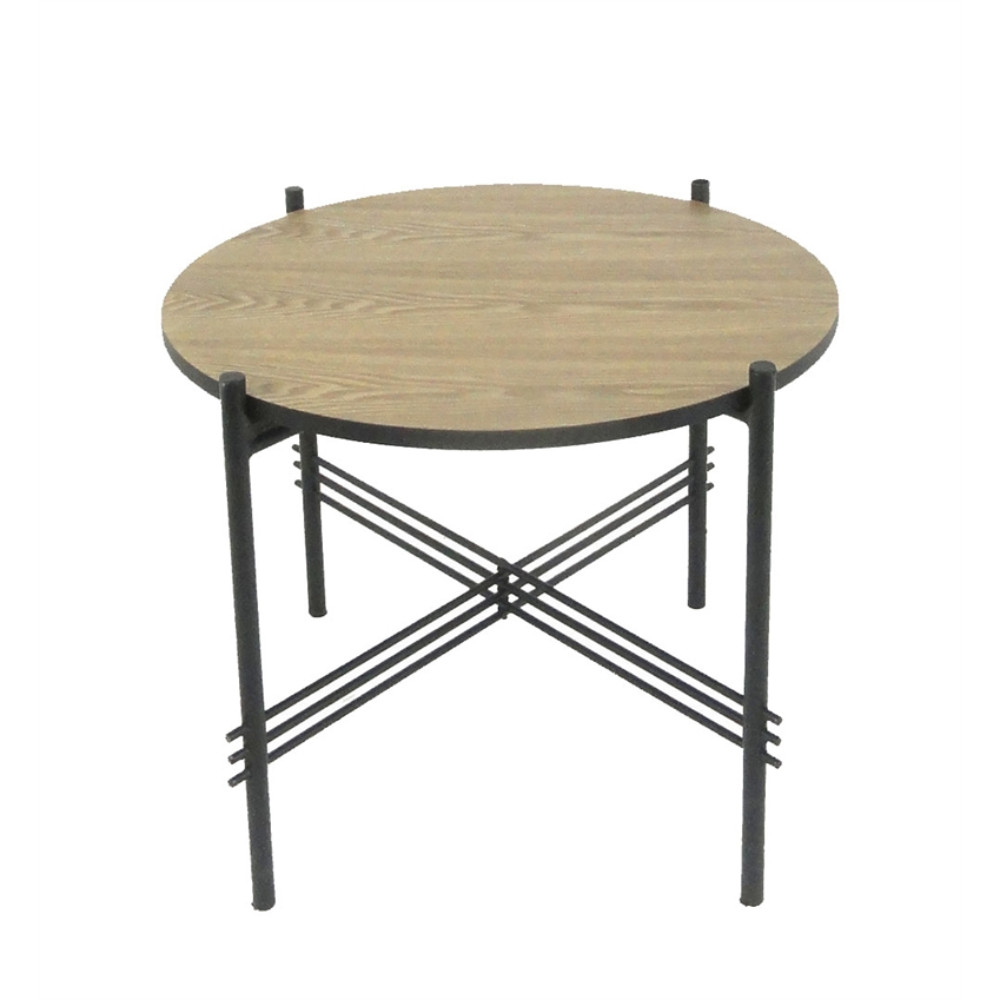 Gracious Metal And Wood Round Accent Table, Black And Brown by Benzara