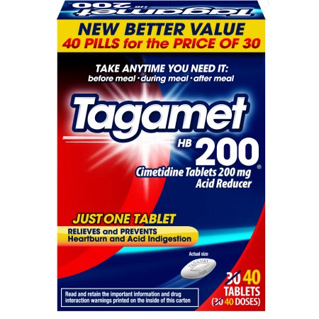 Tagamet HB 200 Acid Reducer Heartburn Relief Tablets, 40 Count Manage your heartburn with Tagamet HB 200. Tagamet HB 200 relieves and prevents heartburn, acid indigestion, and sour stomach. To prevent heartburn symptoms, take Tagamet HB 200 before your first bite or any time up to 30 minutes before eating food or drinking beverages that may cause heartburn. To relieve heartburn symptoms and for relief of acid indigestion and sour stomach, take Tagamet at the first signs of discomfort. Tagamet HB 200 controls stomach acid and prevents heartburn. Tagamet HB 200 can also be taken at bedtime to help prevent heartburn at night.