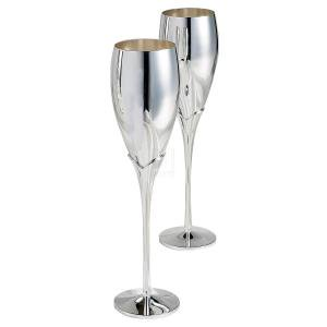 08 Champagne - PAIR OF SILVER CHAMPAGNE FLUTES