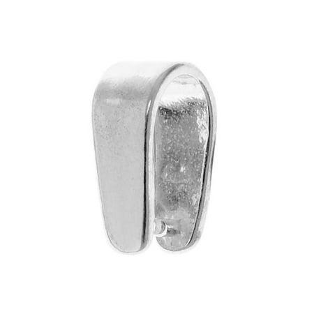 Sterling Silver Sleek 11mm Stone & Crystal Pinch Pendant Bail - Pendant Bails