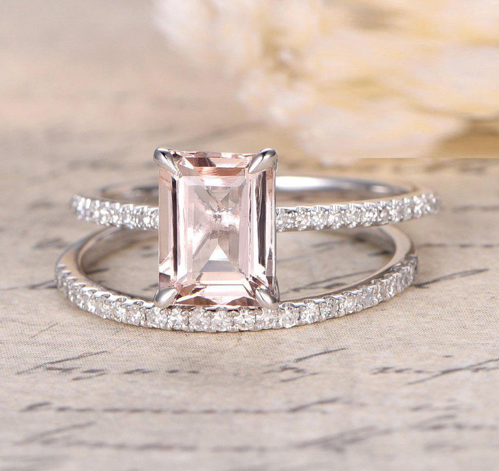 1.50 Carat Peach Pink Morganite (emerald cut Morganite) and Diamond Engagement Ring Wedding Bridal Set in 10k White Gold by JeenJewels
