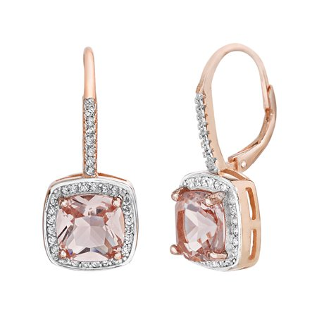 White Cubic Zirconia Simulated Morganite Square Center Halo Dangle Earrings in Rose Gold over Sterling