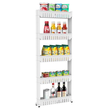 Yaheetech 5 Tier Slim Storage Cart Mobile Shelving Unit With Wheels Slide Out Plastic Shelf For