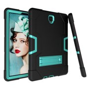 Allytech Samsung Galaxy Tab S4 10.5 2018 Case, [Heavy Duty] Rugged Hybrid Protective Kids Proof Case Cover Build in Kickstand for Samsung Galaxy Tab S4 10.5 inch SM-T830/T835/T837 (Black/Aqua)