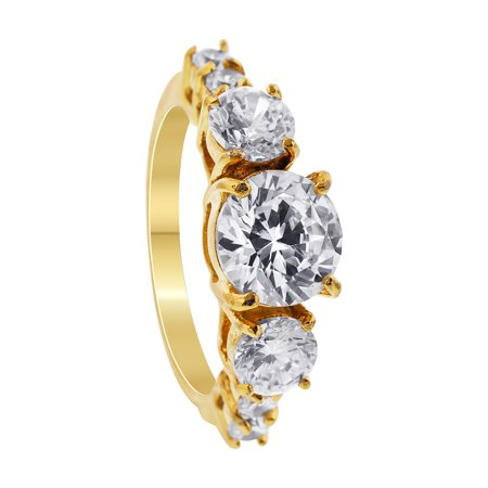 Gem Avenue Stainless Steel Gold Tone Round Clear Cubic Zirconia Ring