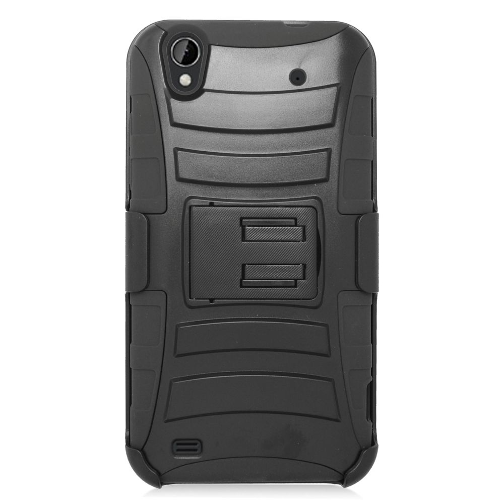 Insten Hard Dual Layer Plastic Silicone Stand Case with Holster For ZTE Quartz - Black - image 1 de 3