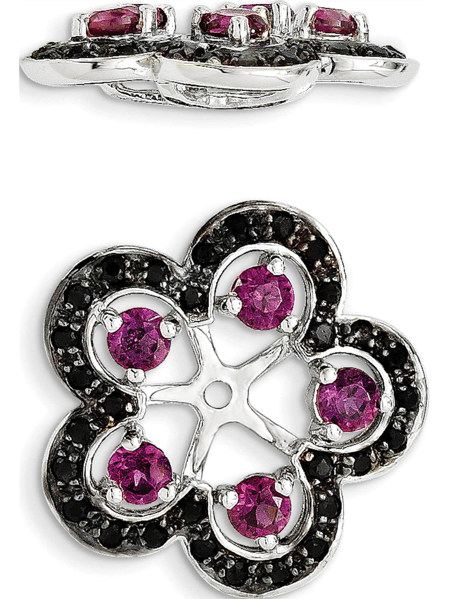 925 Sterling Silver Rhodium Rhodolite Garnet and Black Sapphire Earring Jacket