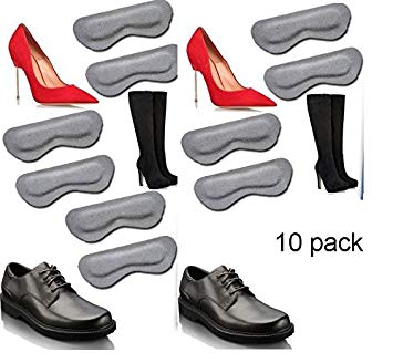 Padded Suede Leather Heel Grips Grey Five Pair Value Pack (10 piece)