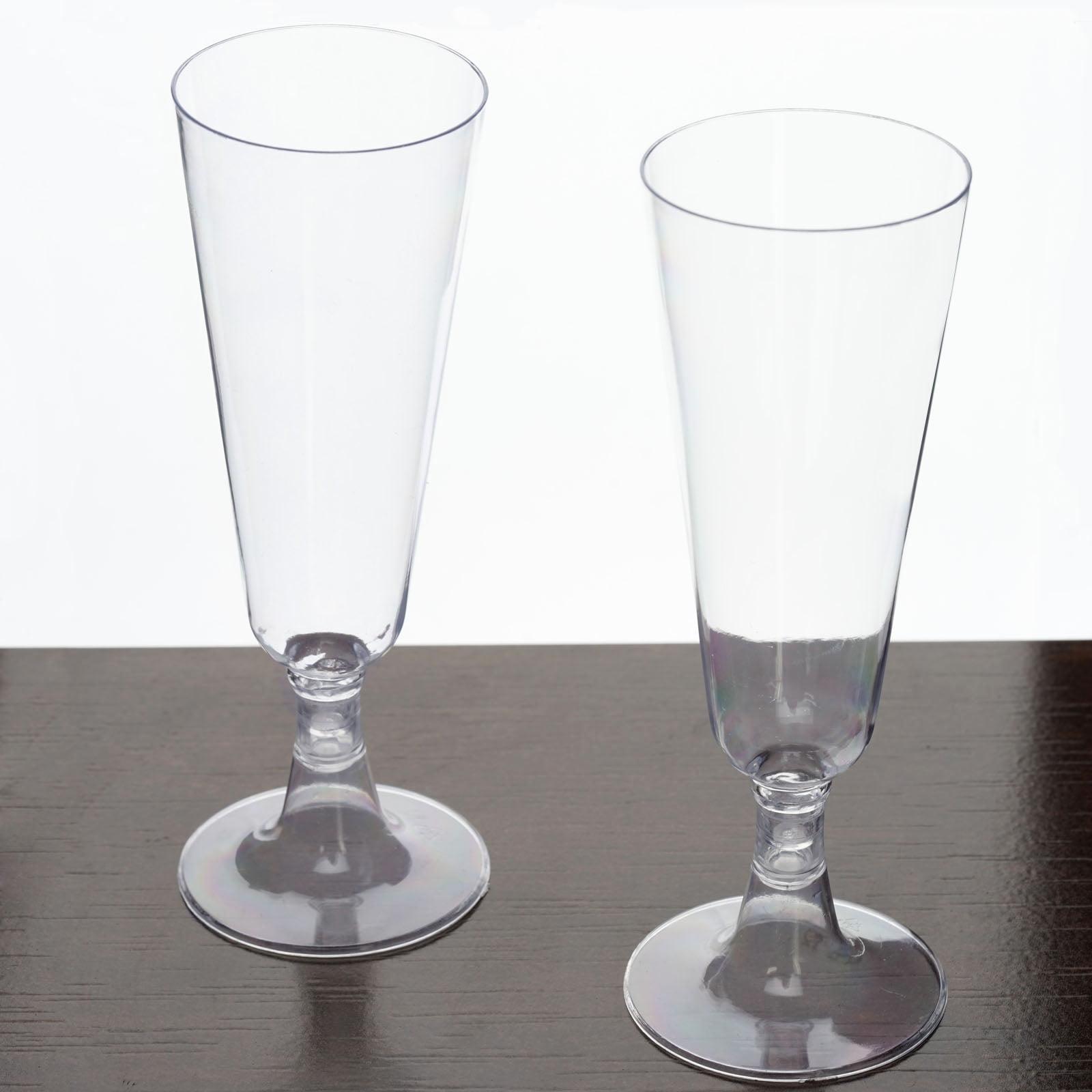 Efavormart 60 Pcs - 5oz Glittered Champagne Flutes Cocktail Disposable Plastic Glasses For Wedding Party Events