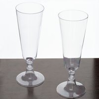 Efavormart 60 Pcs 5oz Glittered Champagne Flutes Cocktail Disposable Plastic Glasses For Wedding Party Events