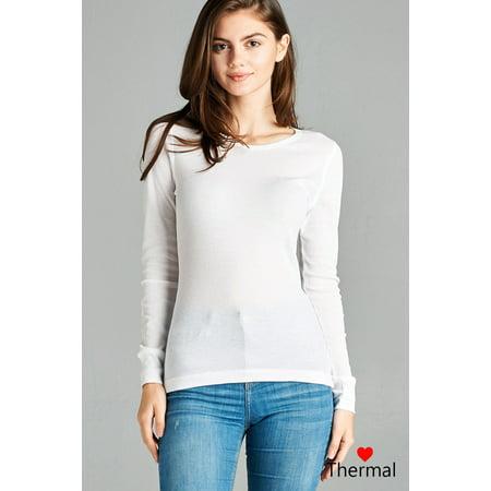 294e673f Women Basic Long Sleeve Thermal Waffle Crew Neck T-Shirt Warm Winter Knit