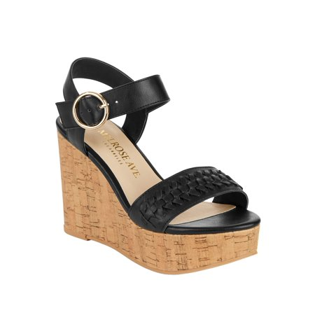 Melrose Ave Vegan Leather Ankle Strap Platform Wedge Heel Sandal (Women's) Ankle Strap Leather Wedges