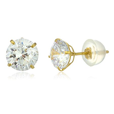 Real 14k Yellow Gold 6mm Round Basket Setting Cz Stud Earrings with Silicone Back