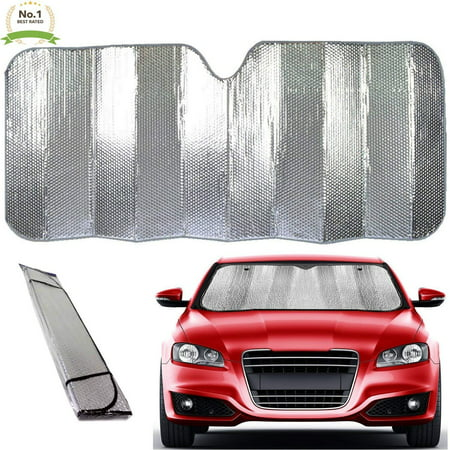 Super Jumbo Dual-Layer Reflective Bubble Design Car Truck SUV Auto Sun Shade Windshield Reflector- New Patented Thermal Material - Super Sun