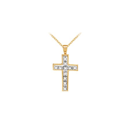 Elegant Cubic Zirconia Holy Cross Pendant Two Tone Gold - image 1 of 4