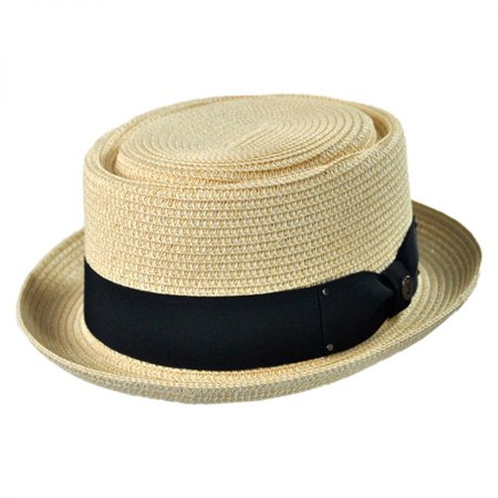 Toyo Straw Braid Pork Pie Hat - XL - Tan