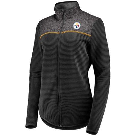 Women's Majestic Black Pittsburgh Steelers Linear Leap Full-Zip Jacket