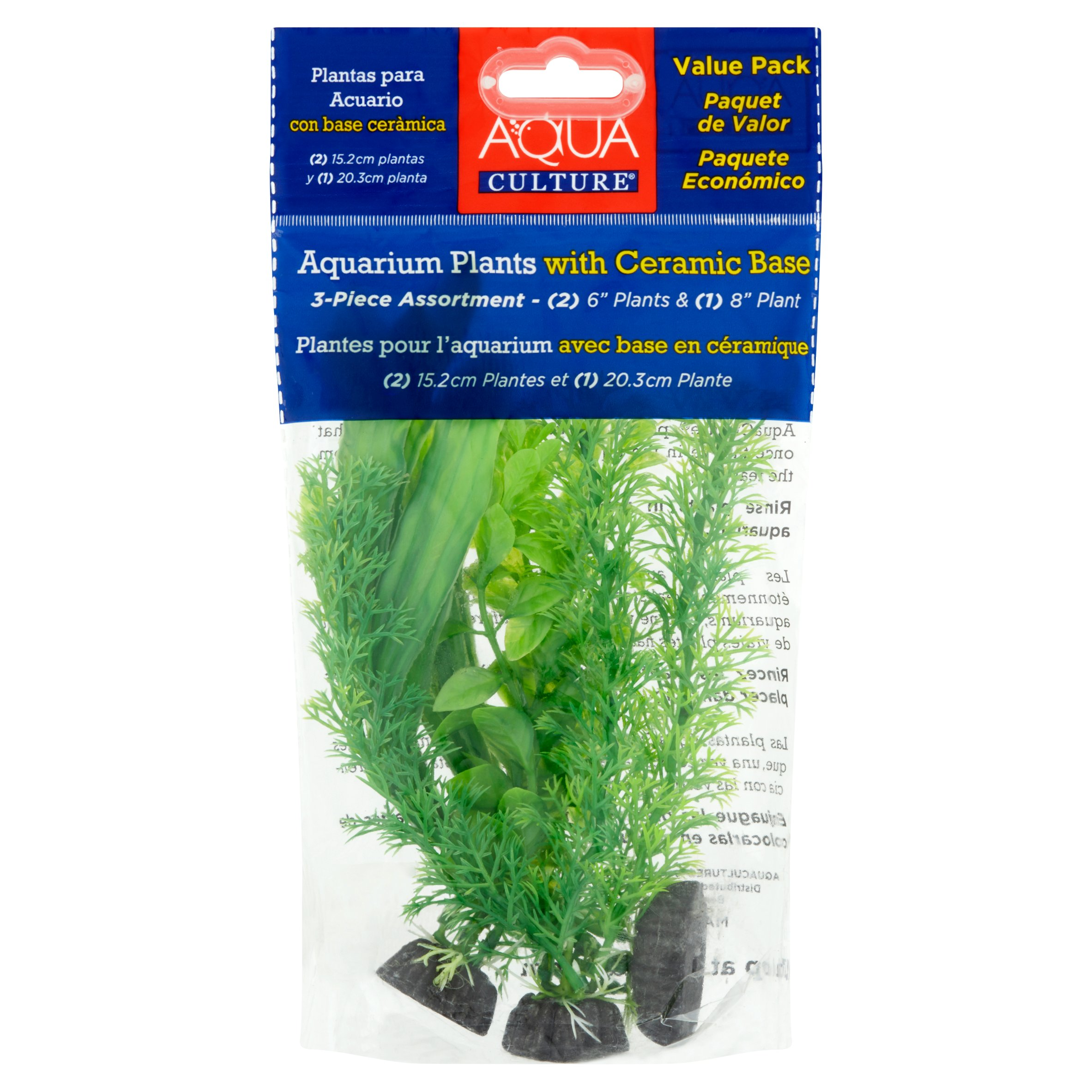 Aqua Culture Aquarium Plant Ornament, 3-Pack