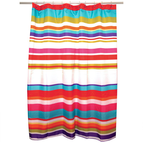 Famous Home Candy Stripe Waterproof Shower Curtain