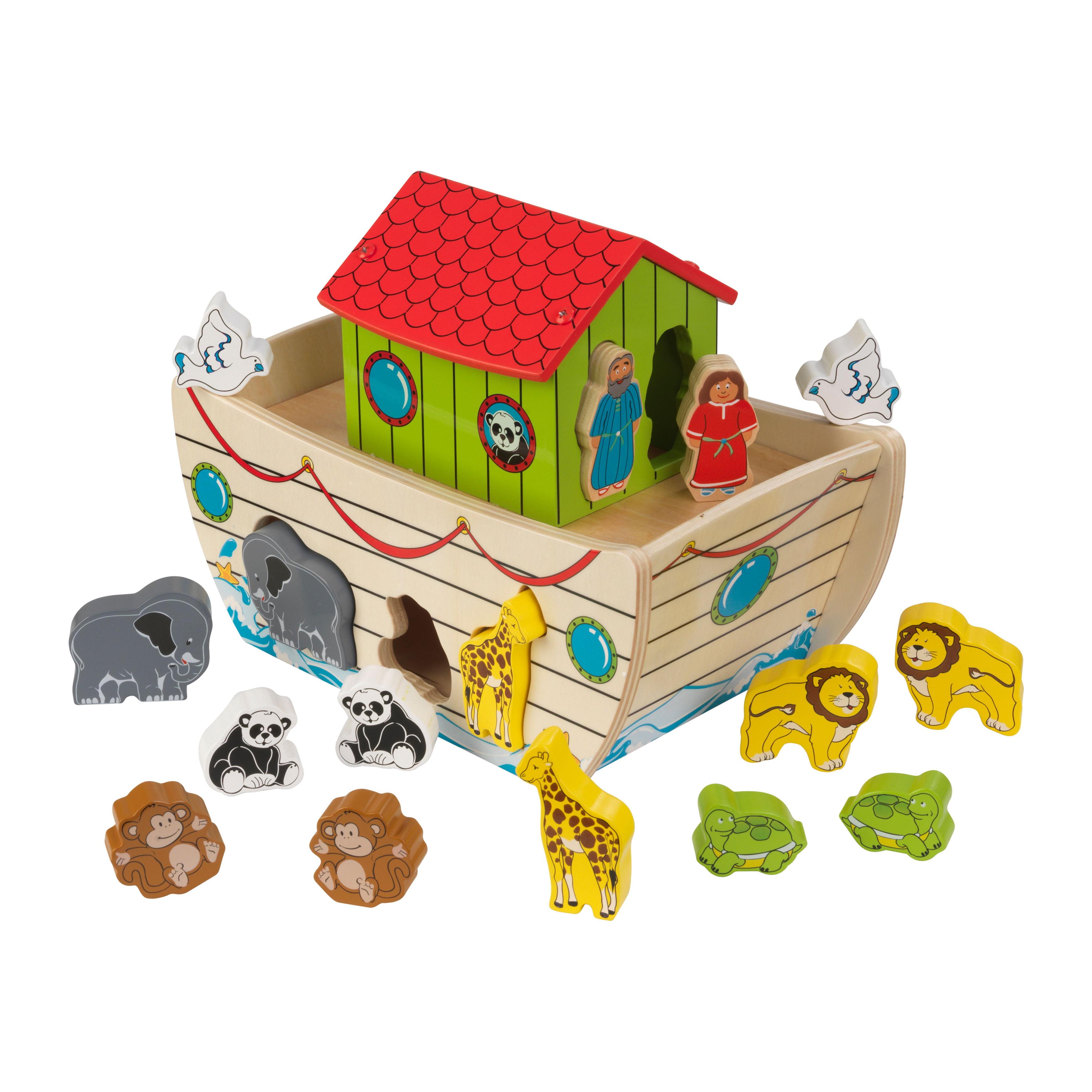 KidKraft Noah's Ark Shape Shorter with 17 Wooden Pieces, Toddler and Preschooler Toy Playset