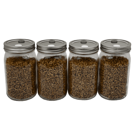 Sterilized Rye Berry Mushroom Substrate in Injectable Quart Jars (4 jars) (Christmas In A Jar)