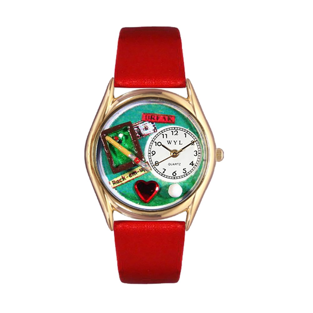 Whimsical Billiards Red Leather And Goldtone Watch