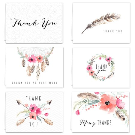 boho spirit thank you card assortment pack set of 36 cards blank