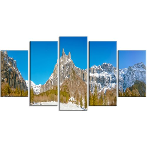 Design Art 'Sixt Fer a Cheval Panoramic View' 5 Piece Wall Art on Wrapped Canvas Set