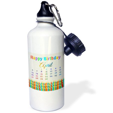 3dRose Birthday on April 9th, Colorful Birthday Candles with Flames, Sports Water Bottle, 21oz