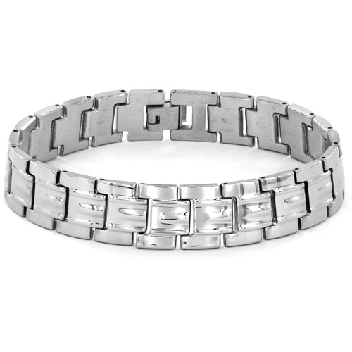 Men's Classic Wide Grooved Link Stainless Steel Bracelet