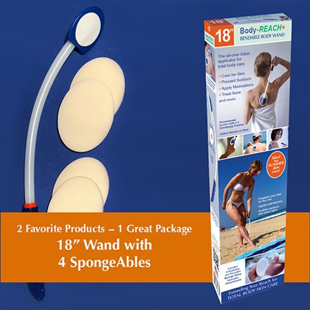 "18"" Semi-Flex Body-Reach+ Bendable Lotion Applicator includes: (4) SpongeAbles"