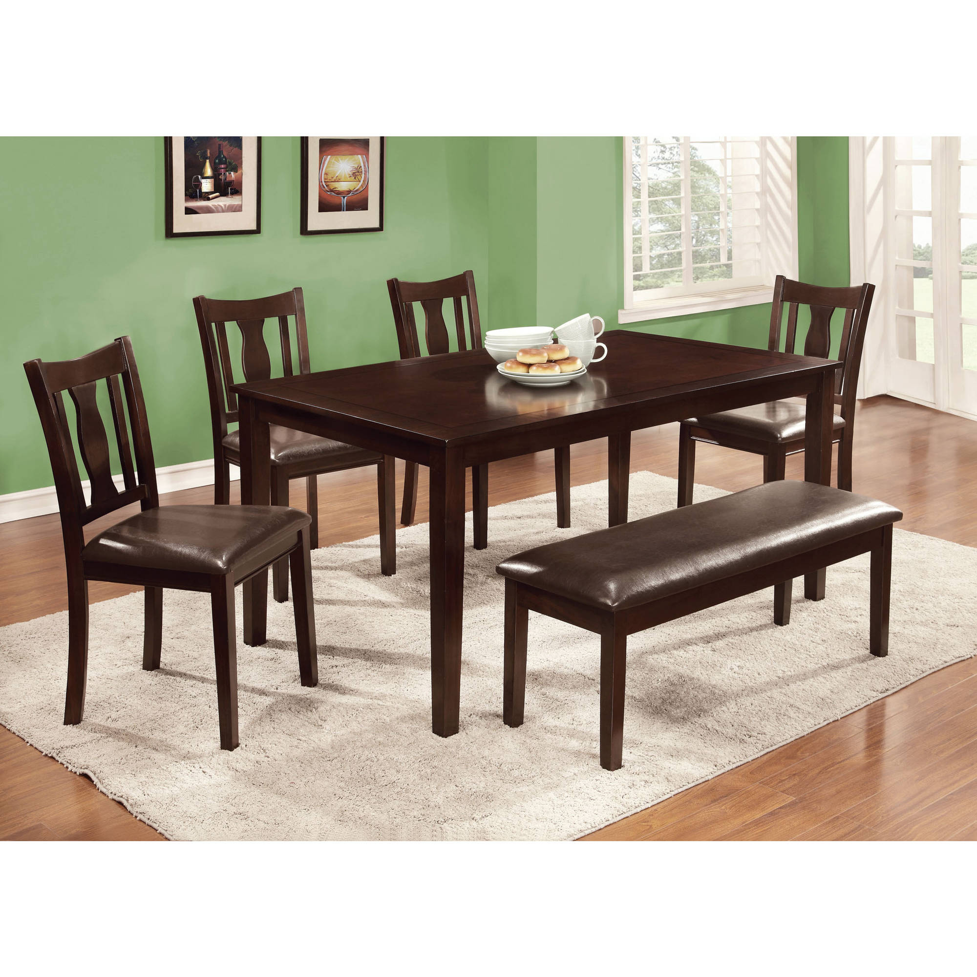 Furniture of America Kingsley Contemporary 6-Piece Dining Room Set, Espresso by Furniture of America