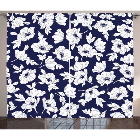 Navy And White Curtains 2 Panels Set Botanical Arrangement With Poppies In Simple Feminine