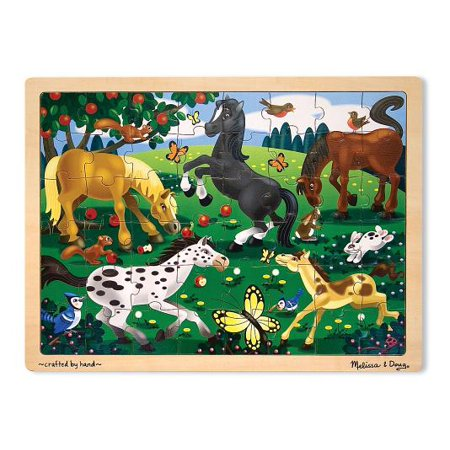 - Melissa & Doug Frolicking Horses Wooden Jigsaw Puzzle With Storage Tray (48 pcs)