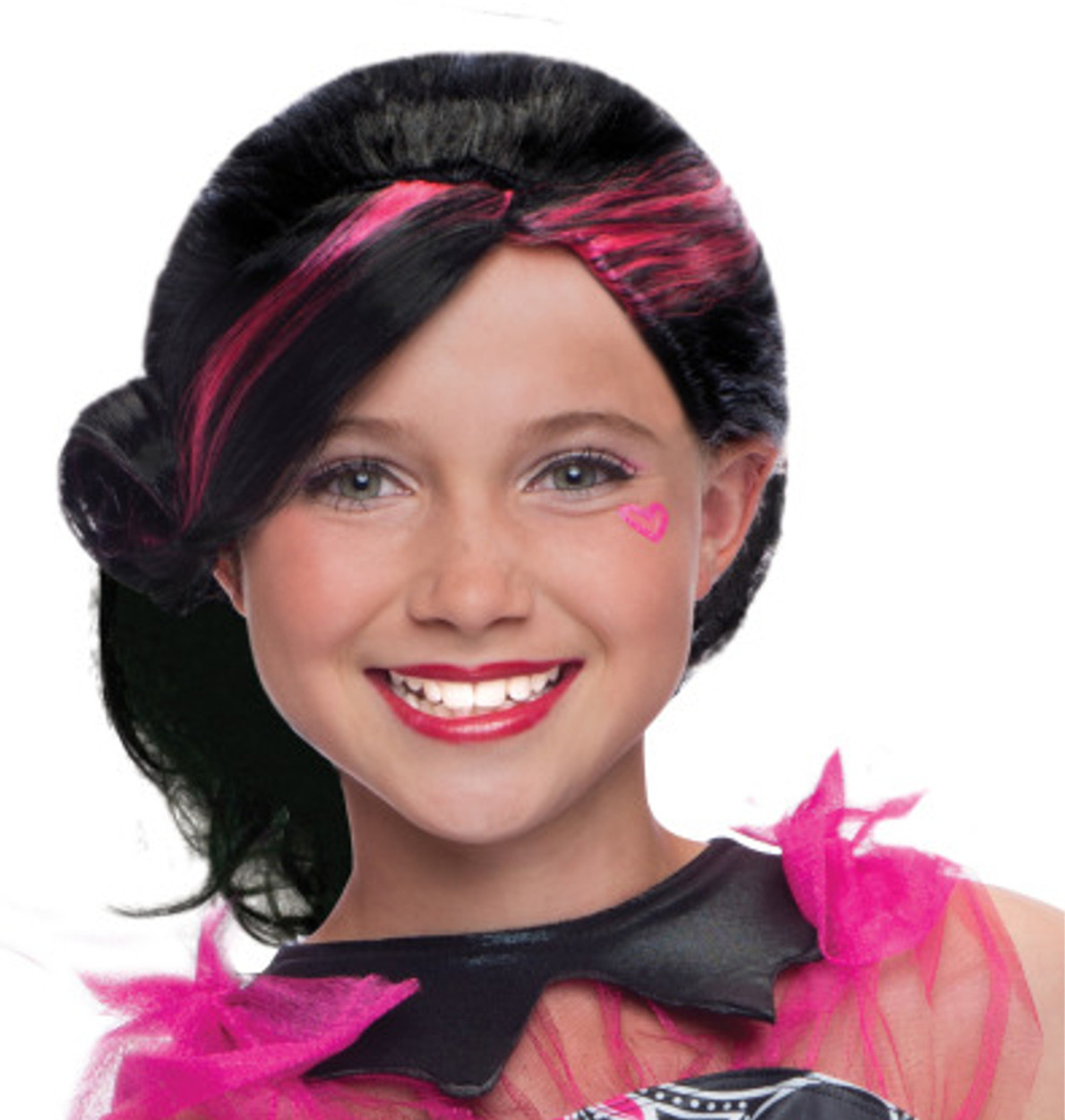 Girls Draculaura Black And Pink Wig Costume Accessory