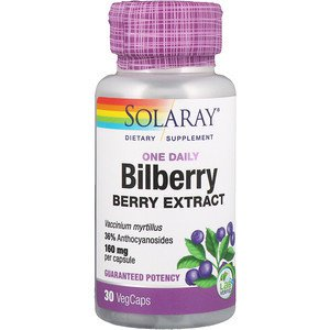 Solaray, One Daily Bilberry Berry Extract, 160 mg, 30 VegCaps (Pack of