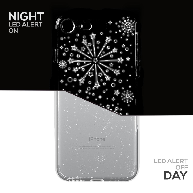 SOJITEK iPhone 7 & iPhone 8 Silver Twinkling Light TPU Clear Case w/ Fireworks Pattern (Patent Pending Twinkling Light Technolgy using LED Flash Alerts)