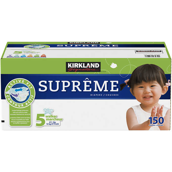 Kirkland Signature Supreme Diapers Size 5%3b 150 count pr...