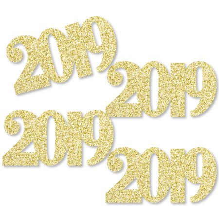 Gold Glitter 2019 - No-Mess Real Gold Glitter Cut-Out Numbers - Graduation Party Confetti - Set of 24